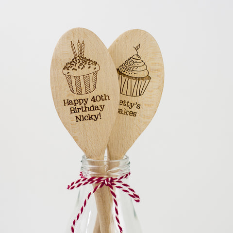 Personalised Wooden Cupcake Spoon - a Unique gift and original gift from Auntie Mims ideal for Christmas