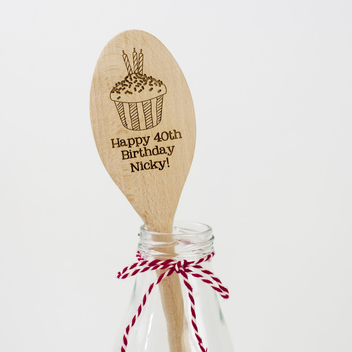 Personalised Wooden Cupcake Spoon - Cupcake with Candles