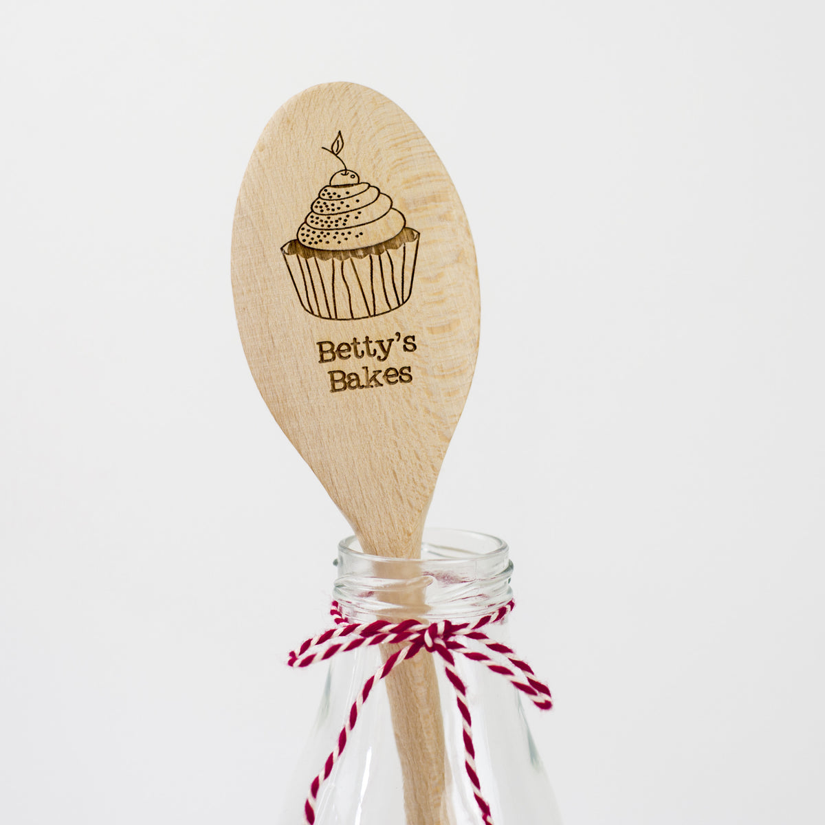 Personalised Wooden Cupcake Spoon - Cupcake with Cherry