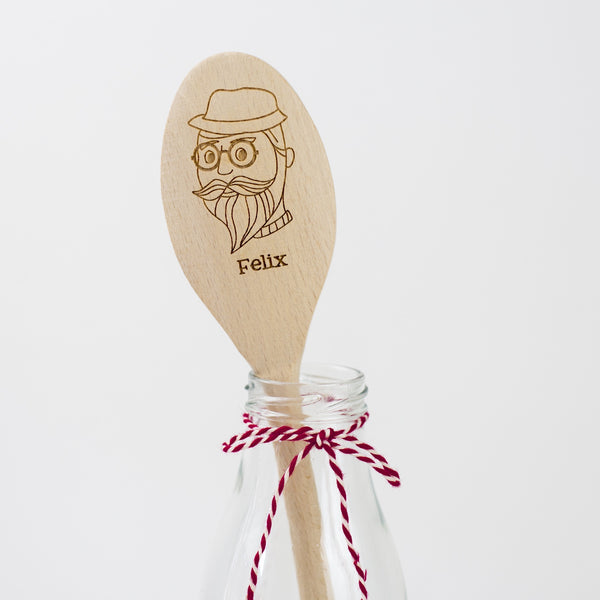 Personalised Wooden Spoon - Beardy with Glasses Spoon