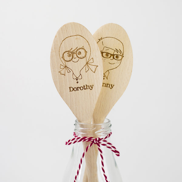 Personalised Wooden Spoon - Girl with Glasses and Boy with Glasses
