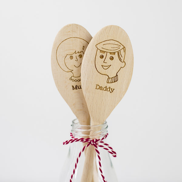 Personalised Wooden Spoon - Lady & Man Spoons