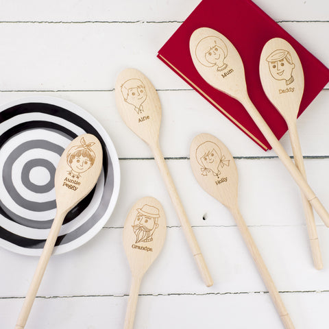 Personalised Wooden Spoon - Variation of Faces