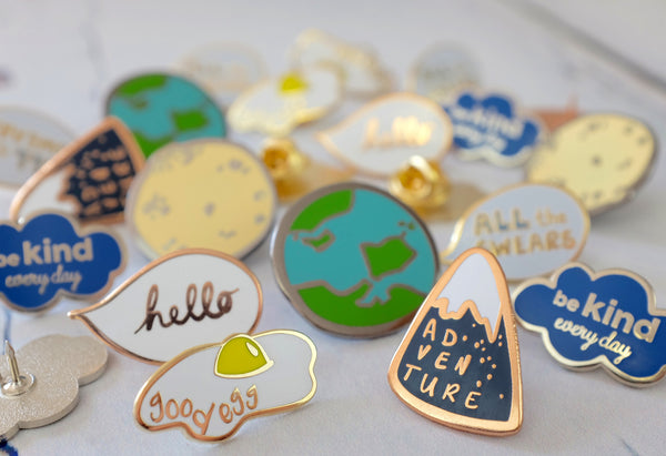 Hello Speech Bubble Enamel Pin - Variation of Pins
