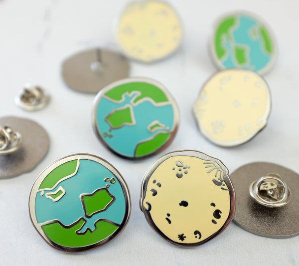 Moon or Planet Earth Explore Enamel Pin - Moon & Earth Close Up