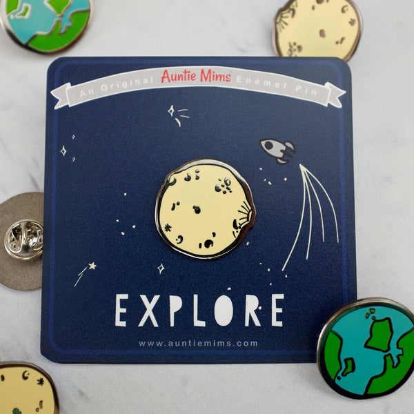 Moon or Planet Earth Explore Enamel Pin - a Unique gift and original gift from Auntie Mims ideal for Christmas