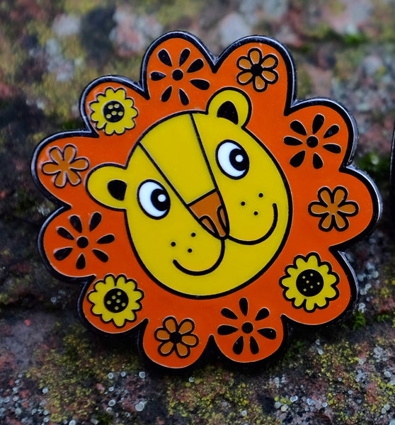 Flower Power Lion Enamel Pin - Front View