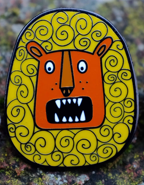 Rory the Roaring Lion Enamel Pin - Front View