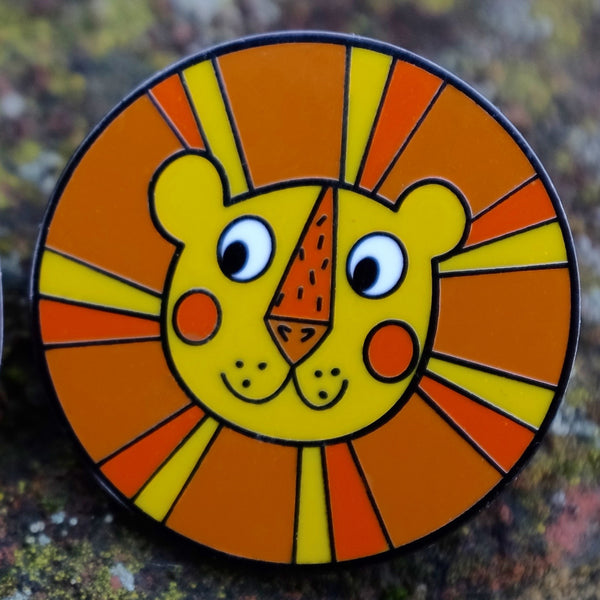 Sunny the Retro Lion Enamel Pin - Front View