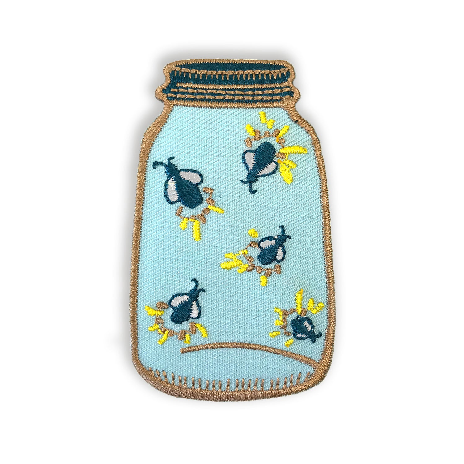 Firefly Mason Jar Iron On Embroidered Patch - Auntie Mims