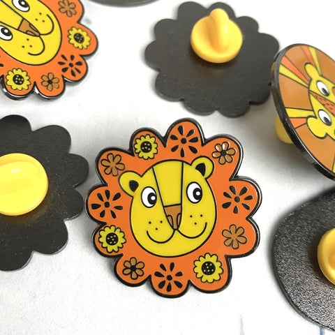Flower Power Lion Enamel Pin