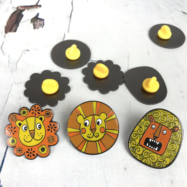 Sunny the Retro Lion Enamel Pin - Group View