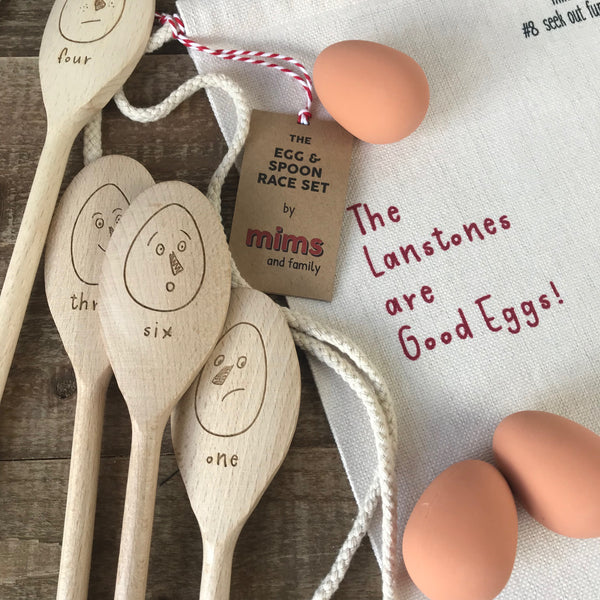 Personalised Egg and Spoon Race Set - a Unique gift and original gift from Auntie Mims ideal for Christmas