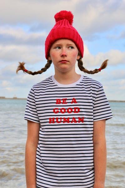 Striped Be A Good Human Unisex Adult and Child T shirt