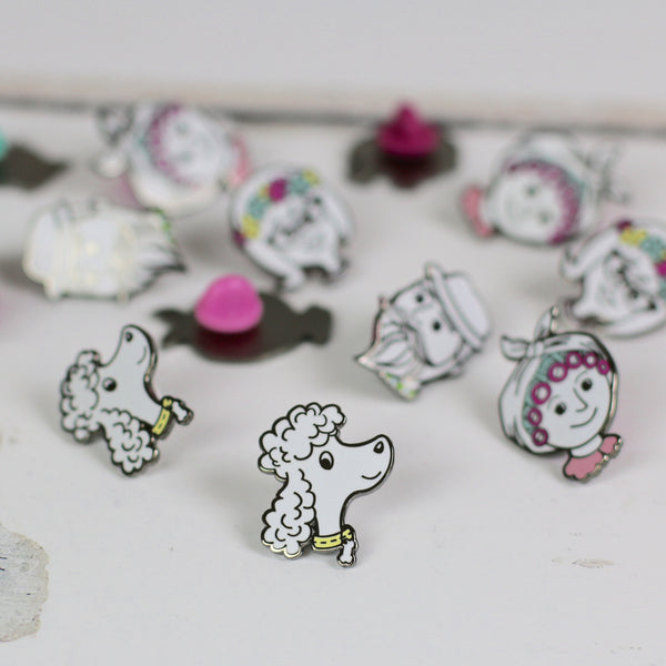 enamel pin - poodle friend - a lovely Unique Gift from Auntie Mims