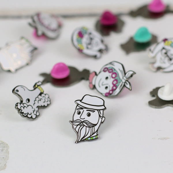 enamel pin - beardy dude - a lovely Unique Gift from Auntie Mims