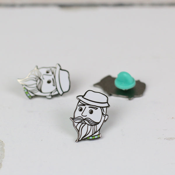 enamel pin - beardy dude - a Unique gift and original gift from Auntie Mims ideal for Christmas