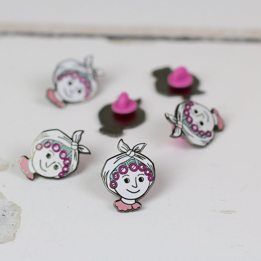 enamel pin - lady with rollers