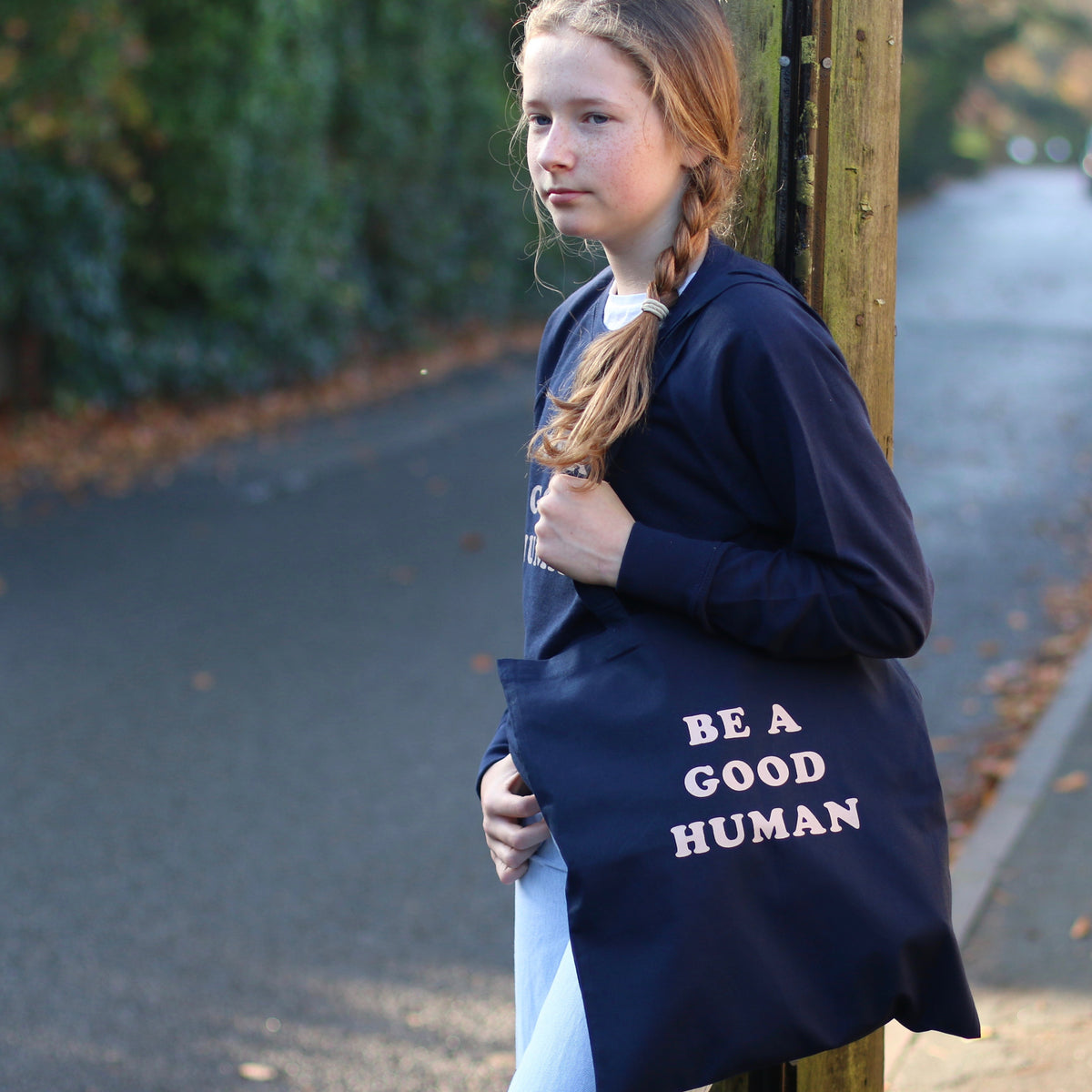 Be A Good Human Screen Printed Cotton Tote Bag
