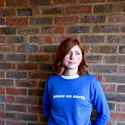 Peace On Earth Screen Printed Sweatshirt - a lovely Unique Gift from Auntie Mims