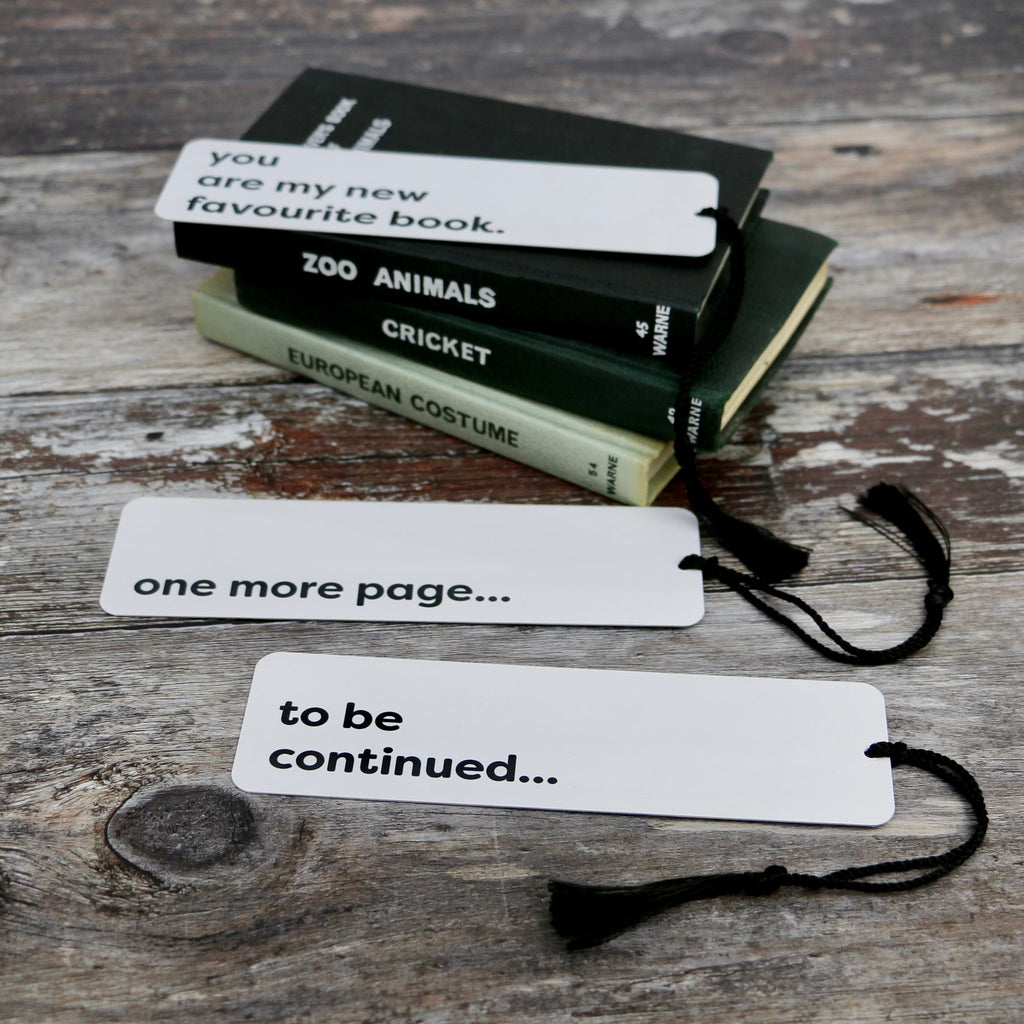 Monochrome Typographic Design Personalised Metal Bookmark - a Unique gift and original gift from Auntie Mims ideal for Christmas