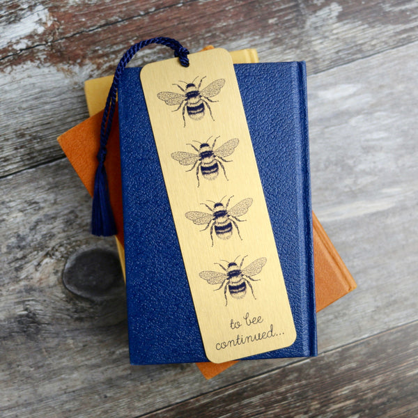 Gold Bee Design Metal Bookmark - a Unique gift and original gift from Auntie Mims ideal for Christmas