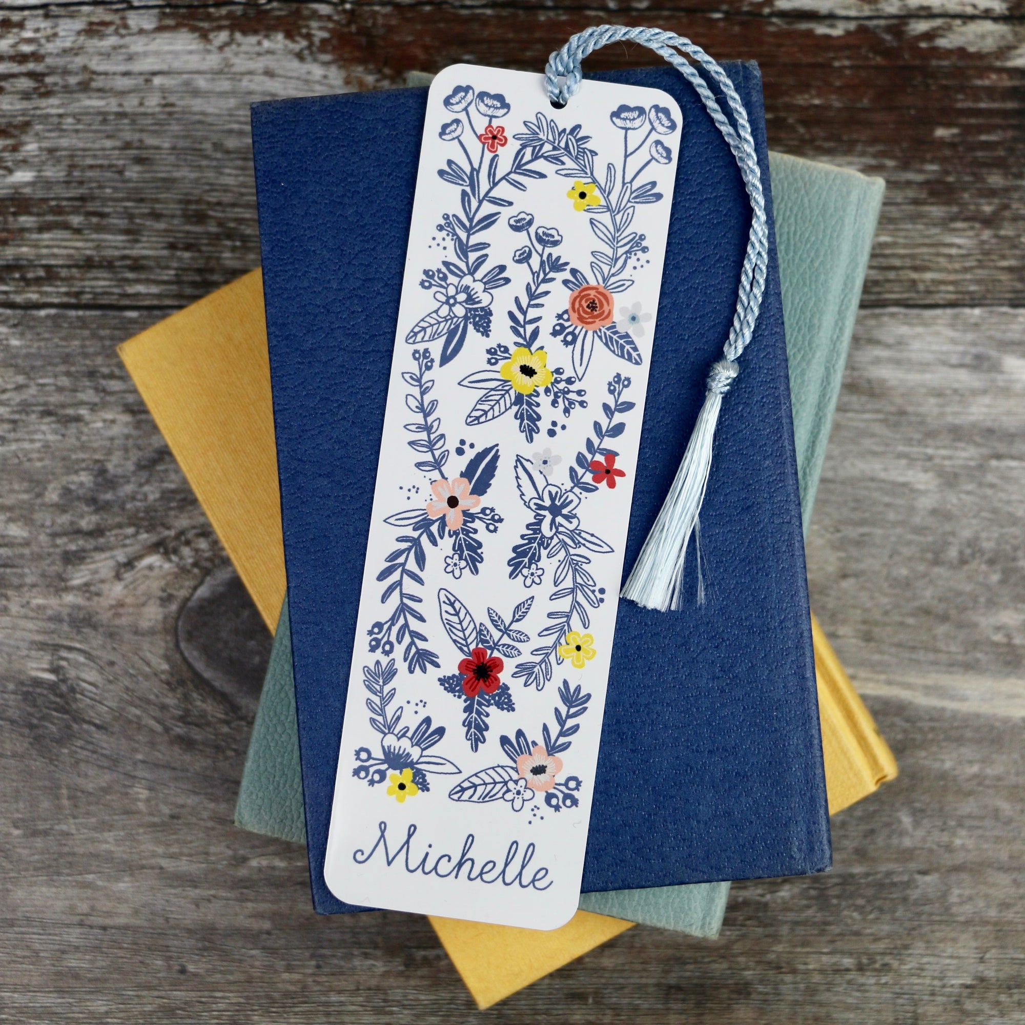 Floral Design Personalised Aluminium Bookmark - a lovely Unique Gift from Auntie Mims