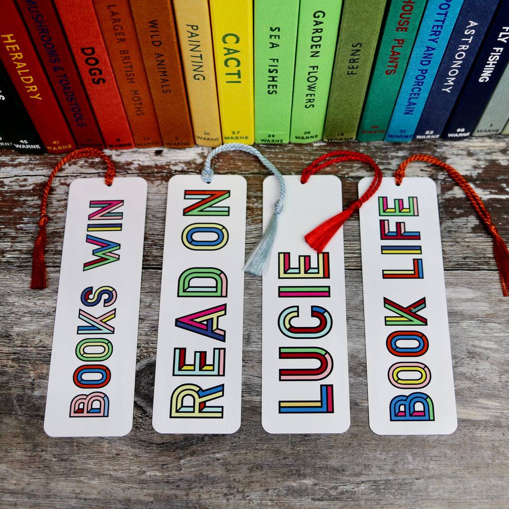 Colourful Personalised Typographic Design Bookmark - a Unique gift and original gift from Auntie Mims ideal for Christmas