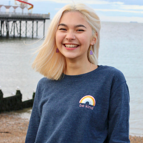 Muted Be Kind Rainbow Embroidered Sweatshirt