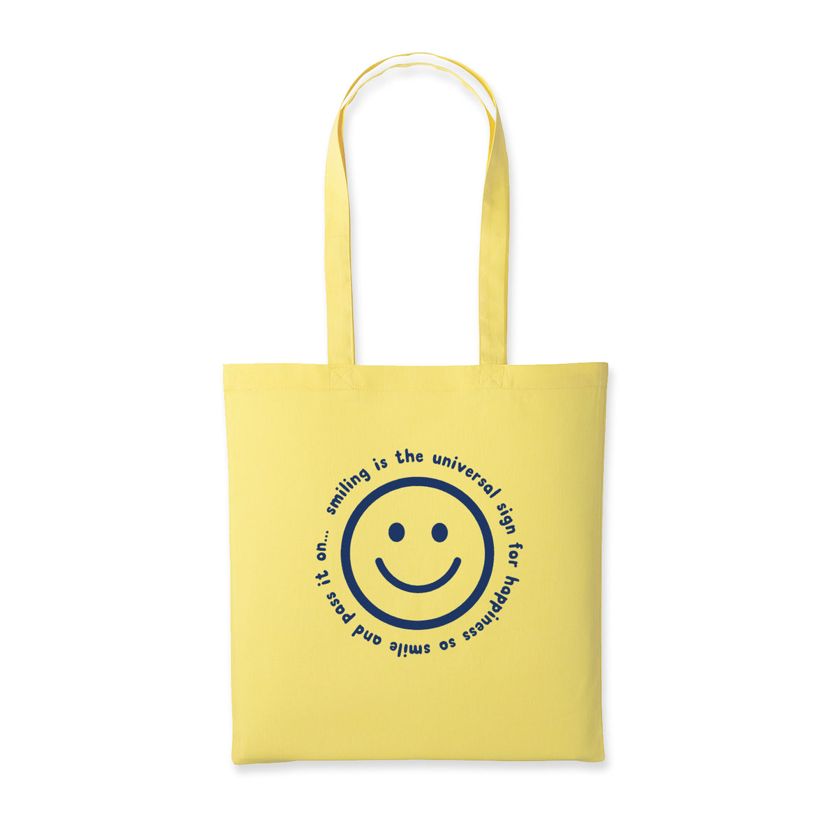 Smile Screen Printed Cotton Tote Bag