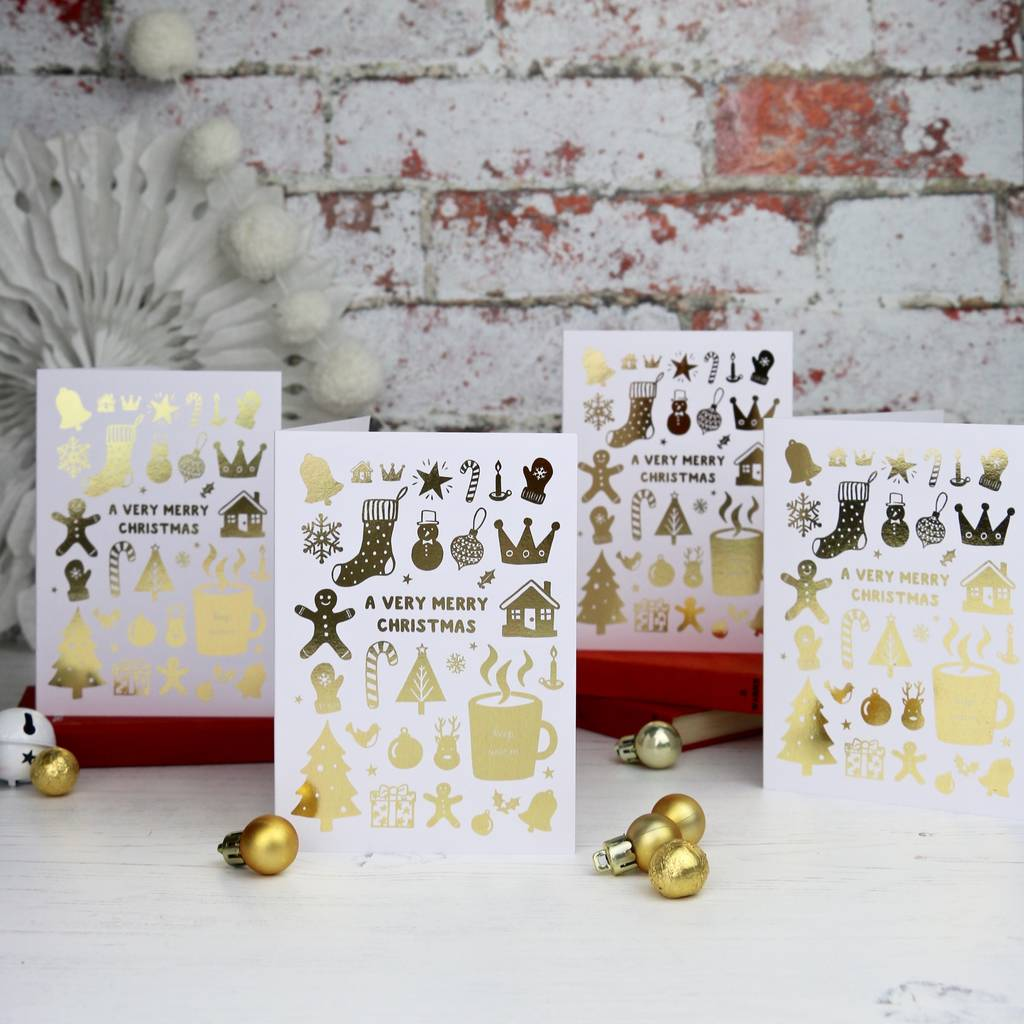 Luxury Gold Foiled Christmas Cards | Auntie Mims
