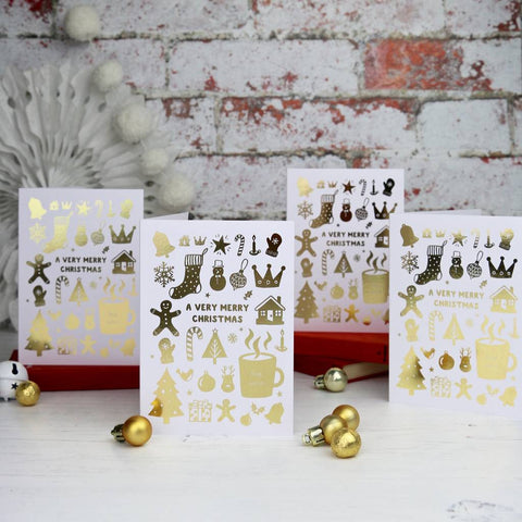 Luxury Gold Foiled Christmas Cards - HOWKAPOW
