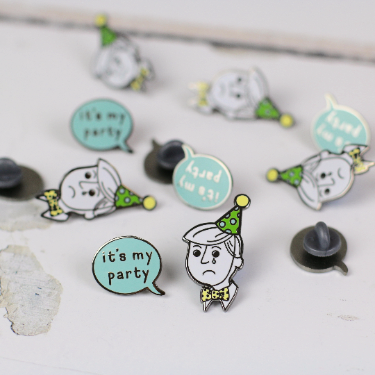 Disappointed Party Man & It's My Party Speech Bubble Enamel Pin Set