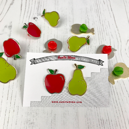 Apples and Pears Enamel Pin Set - With Backing Card
