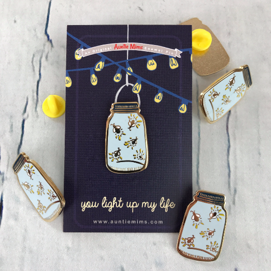 Firefly Jar Enamel Pin - a lovely Unique Gift from Auntie Mims