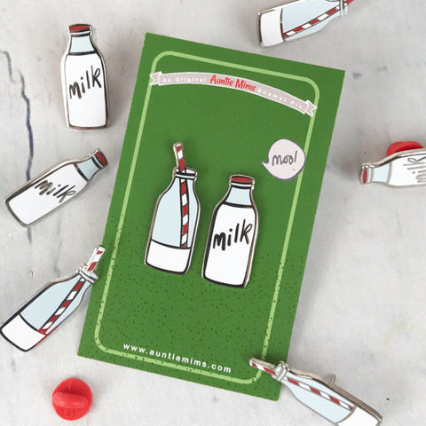 Milk Bottle Enamel Pin Set