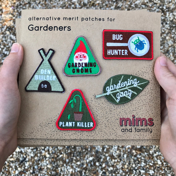 Merit Patch Set For Gardeners - five patches from the collection - a Unique gift and original gift from Auntie Mims ideal for Christmas