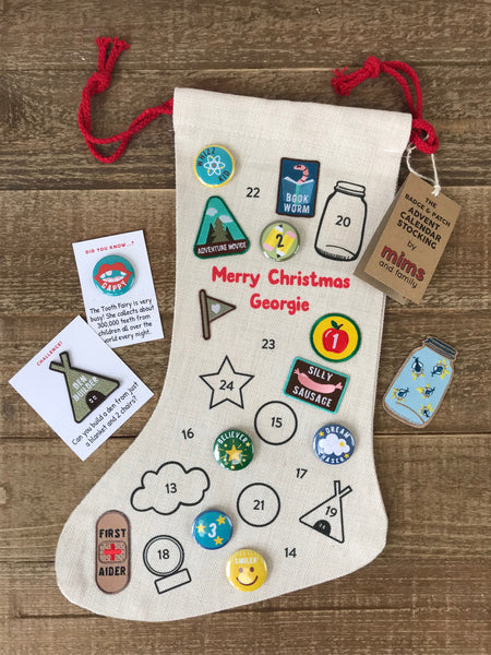 Badge And Patch Advent Calendar Christmas Stocking - a Unique gift and original gift from Auntie Mims ideal for Christmas