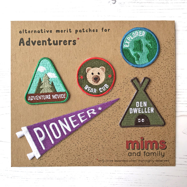 Merit Patches For Adventurers - five patches from the collection - a lovely Unique Gift from Auntie Mims