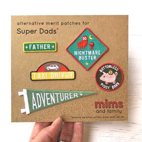 Merit Patch Set For Super-Dads - five patches from the selection - a Unique gift and original gift from Auntie Mims ideal for Christmas