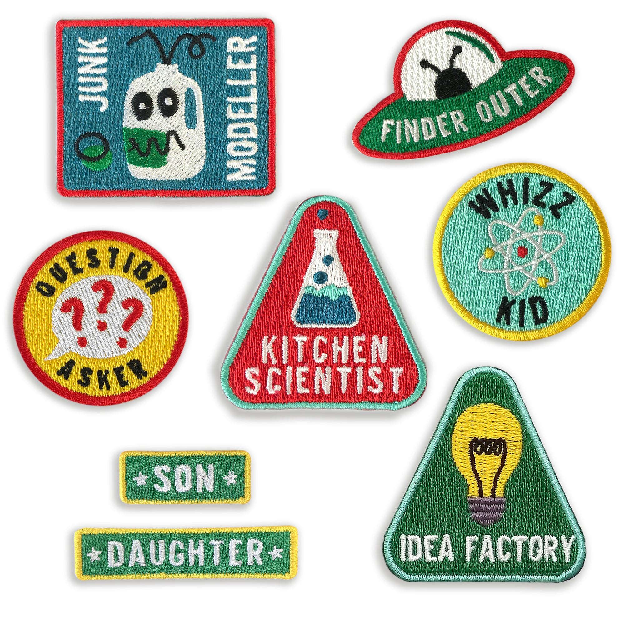 Merit Patches For Enquiring Minds - choose five from the collection - a lovely Unique Gift from Auntie Mims