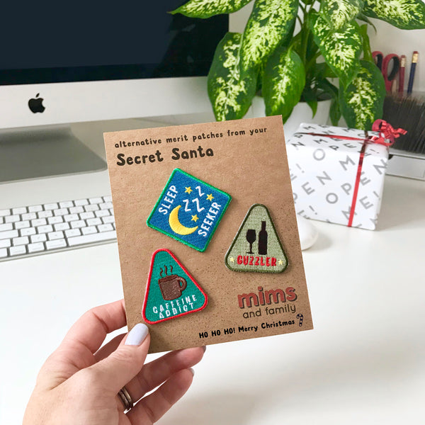 Secret Santa Alternative Merit Patch Set - three patches from a selection - a lovely Unique Gift from Auntie Mims