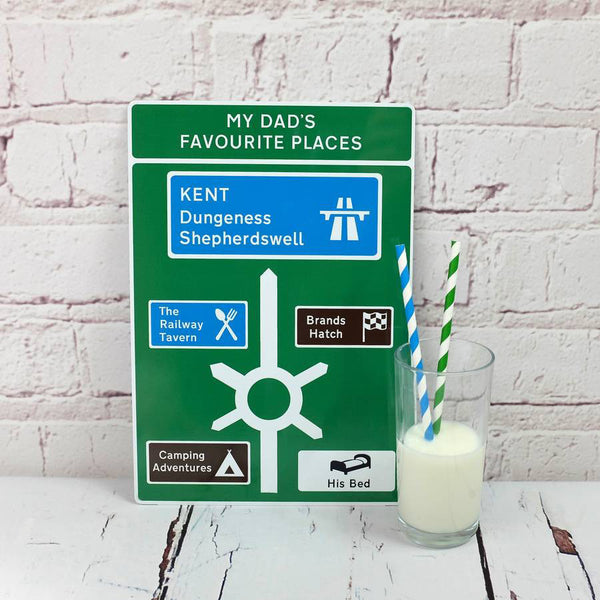 Favourite Places Metal Road Sign - With Milk