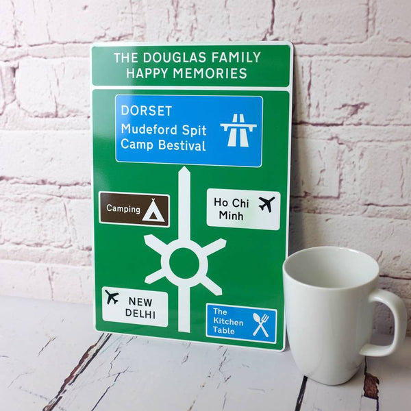 Favourite Places Metal Road Sign - With Mug