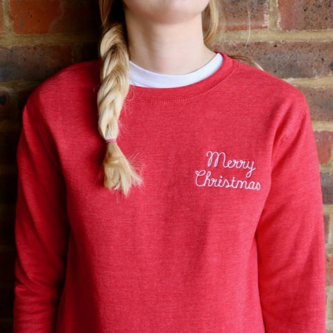 Merry Christmas Embroidered Sweatshirt - a lovely Unique Gift from Auntie Mims