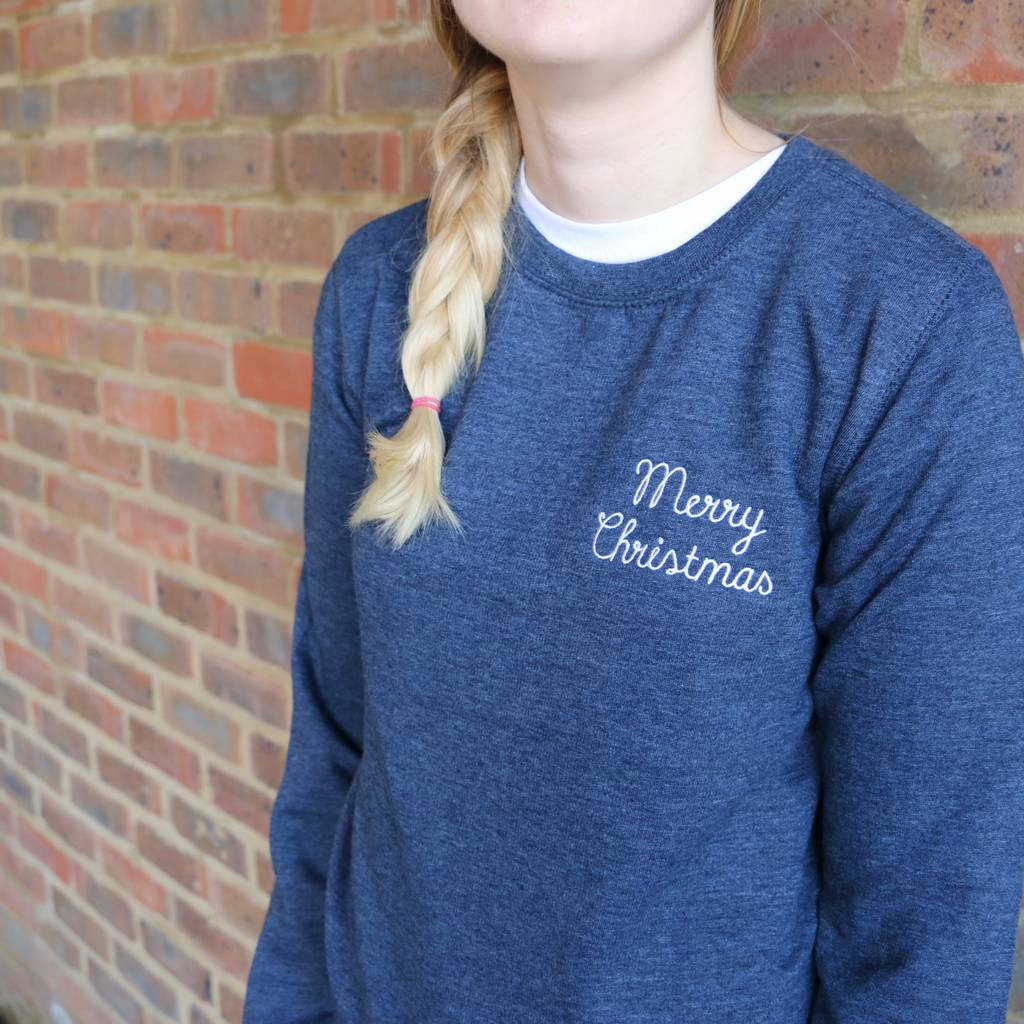 Merry Christmas Embroidered Sweatshirt - a Unique gift and original gift from Auntie Mims ideal for Christmas