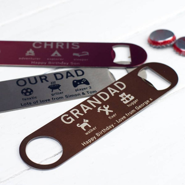 Personalised Bottle Opener - a Unique gift and original gift from Auntie Mims ideal for Christmas