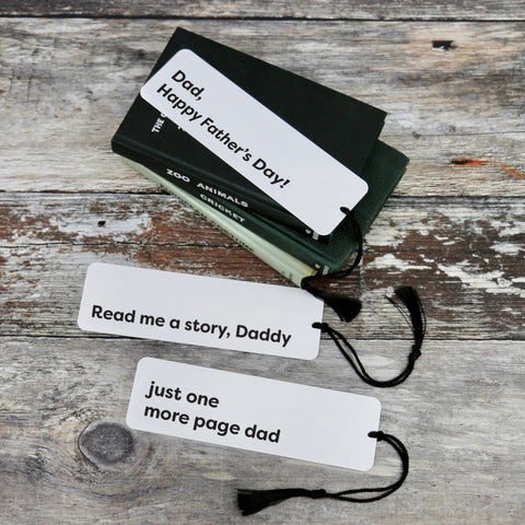 Fathers Day Metal Monochrome Aluminium Bookmark - a lovely Unique Gift from Auntie Mims