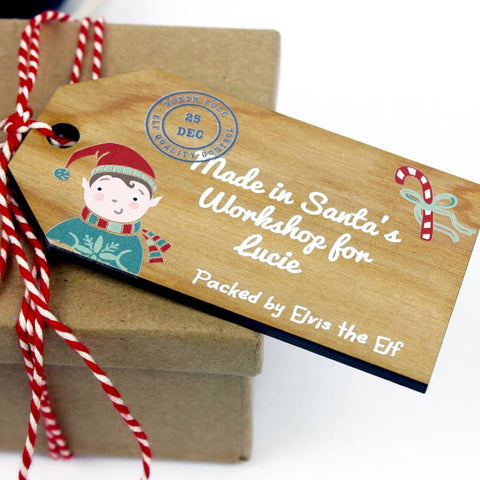 Personalised Wooden Gift Tag From The North Pole - Auntie Mims