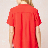 Solid V-Neck Placket Top